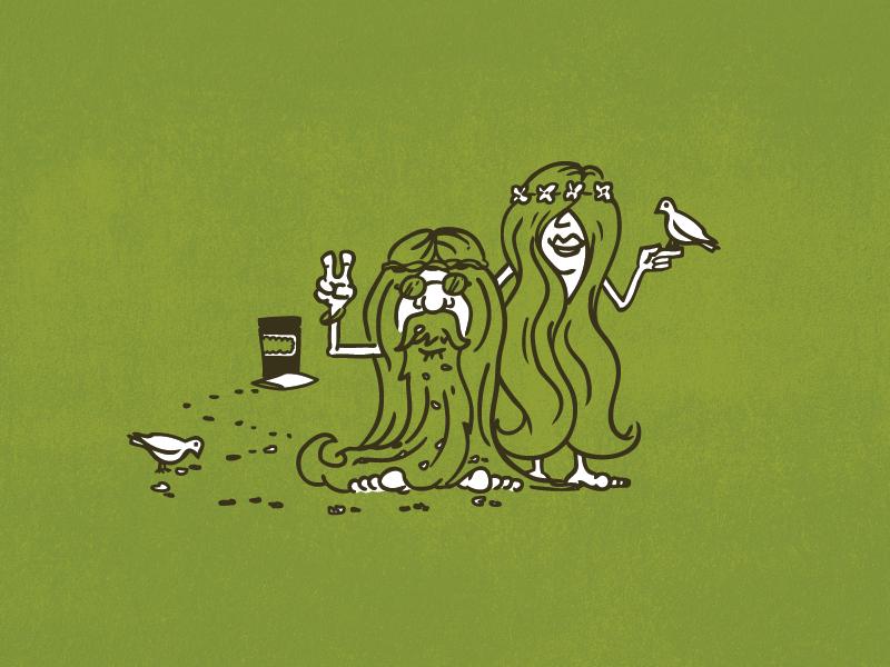 Gateway Granola Packaging Illustration dove granola hippie