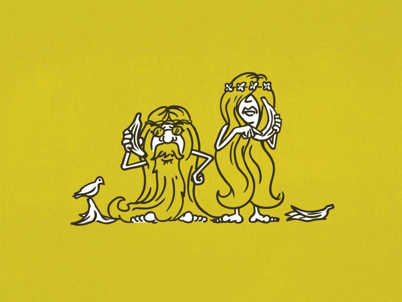 PB&B Packaging Illustration banana peace hippie dove