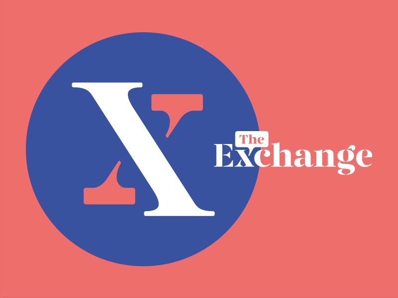 The Exchange Logo women words x talk bubble