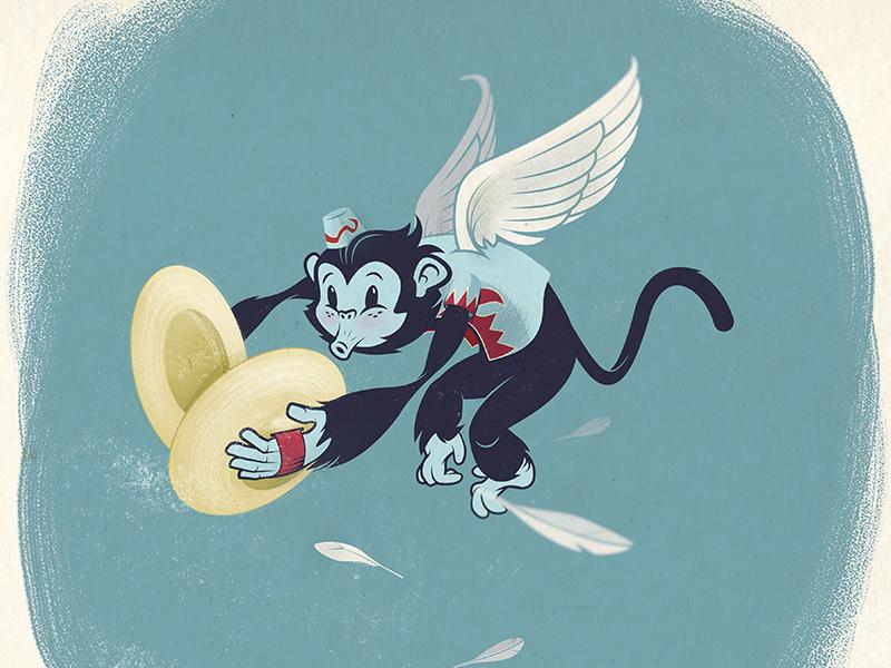 Flying Monkey dog and pony cymbals feathers oz monkey adobe sketch flying monkey