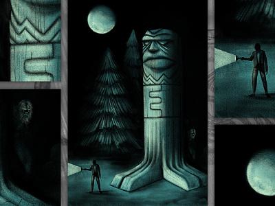 Sciapodous Tiki carving wood mysterious dark flashlight bigfoot moon procreate tiki