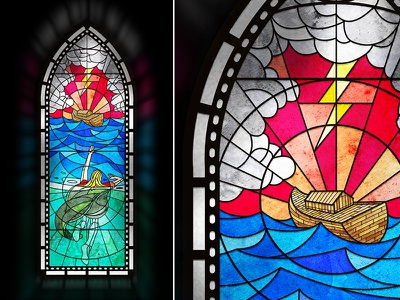 Draconian Storm waves ocean lightening church flood storm stained glass