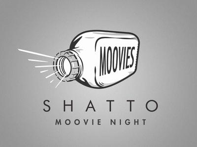Shatto Moovies illustration logo procreate bottle shatto cinema projector glass movies film milk