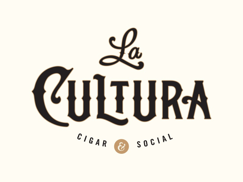 La Cultura logo illustrator branding gold script lettering logo type spurs culture cigars