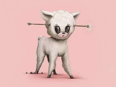 Lil' Lamb soft fuzzy lint eyelash wool pink poop arrow procreate lamb