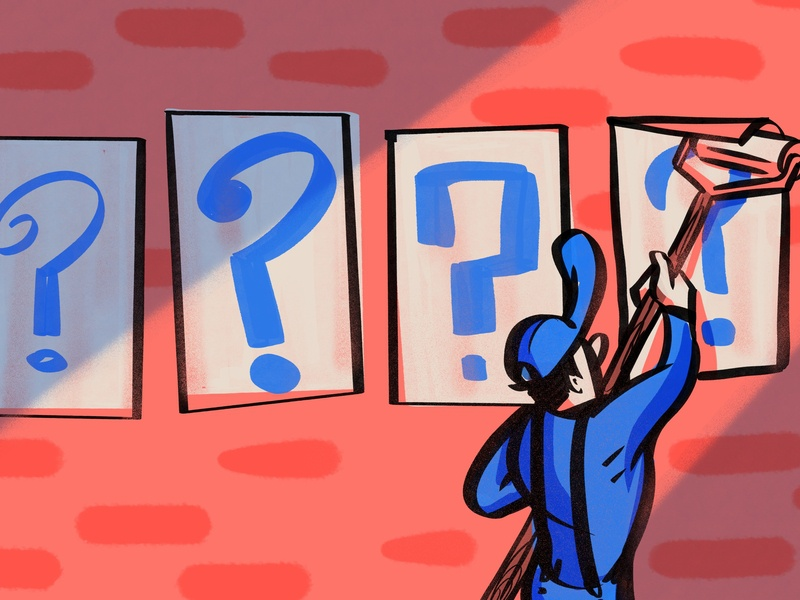 Fresh Questions ink blue pink brick signs questionmark questions procreate app illustration