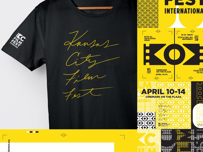 KC Film Fest 2019 festival movies film pattern texture cursive script posters t-shirt