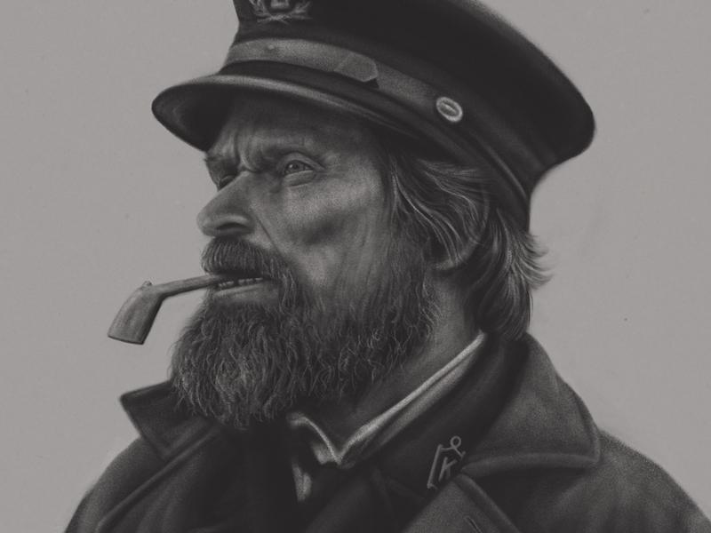 Portrait of Thomas Wake hat beard pipe willem dafoe adobefresco adobe the lighthouse