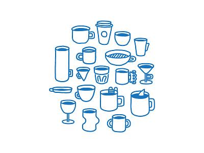 Mug Mug Mug descendents espresso circle icon minimal line illustration coffee