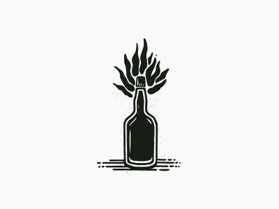 BOOOZE fire woodcut alcohol booze