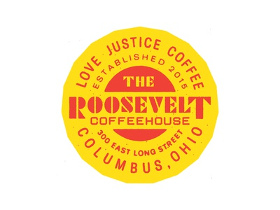 Roosevelt Coffeehouse 3 Year Anniversary badge lettering espresso circle badge illustration coffee