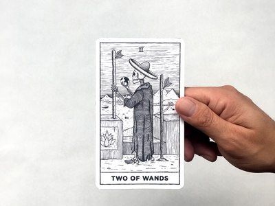 Two of Wands mexican carving woodcut illustration procreate card print tarot