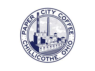 Paper City ohio factory illustration badge