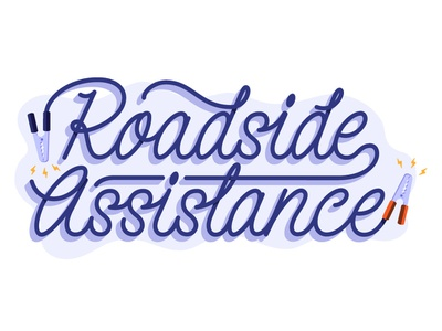 Roadside Assistance Jumper Cable type jumper cable driving road insurance typography lettering illustration