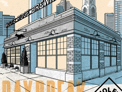 Wolfs Ridge Brewing Poster ohio wolf halftones screen print beer poster illustration