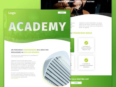 Academy Self-Help green sketch landing  page desktop landing web  design design self help academy