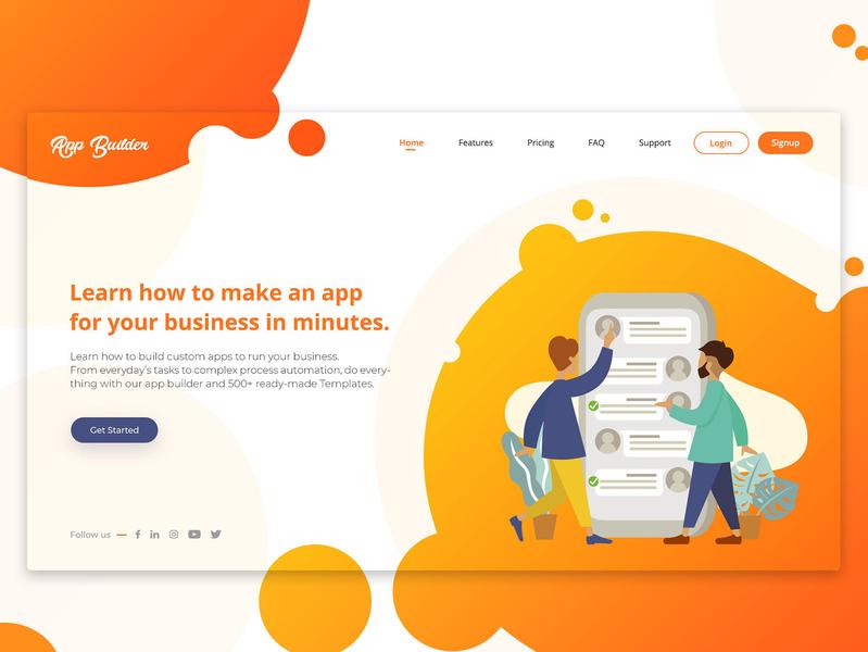 App Builder Landing Page shapes sambhav jain orange landing page app app builder