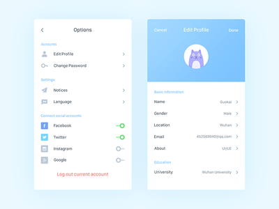 Settings profile edit blue design ui daily clean app settings