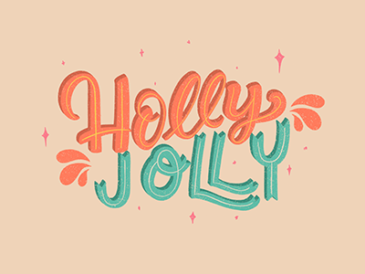 Holly Jolly christmas typography type lettering hand lettering