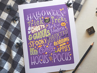Halloween type typography illustration poster candy script spooky trick or treat lettering halloween hand lettering