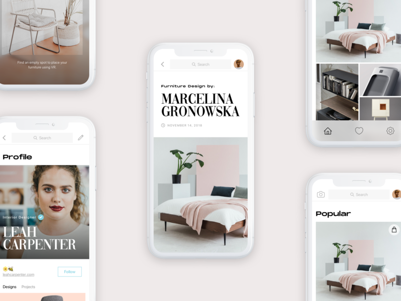 Indie Furniture App minimal ux flat clean pink unusual feed scan architecture furniture ui