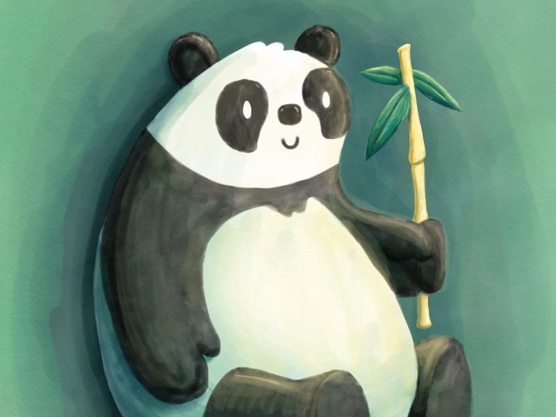 Lazy & Content watercolor smile panda sketch digital animal illustration character