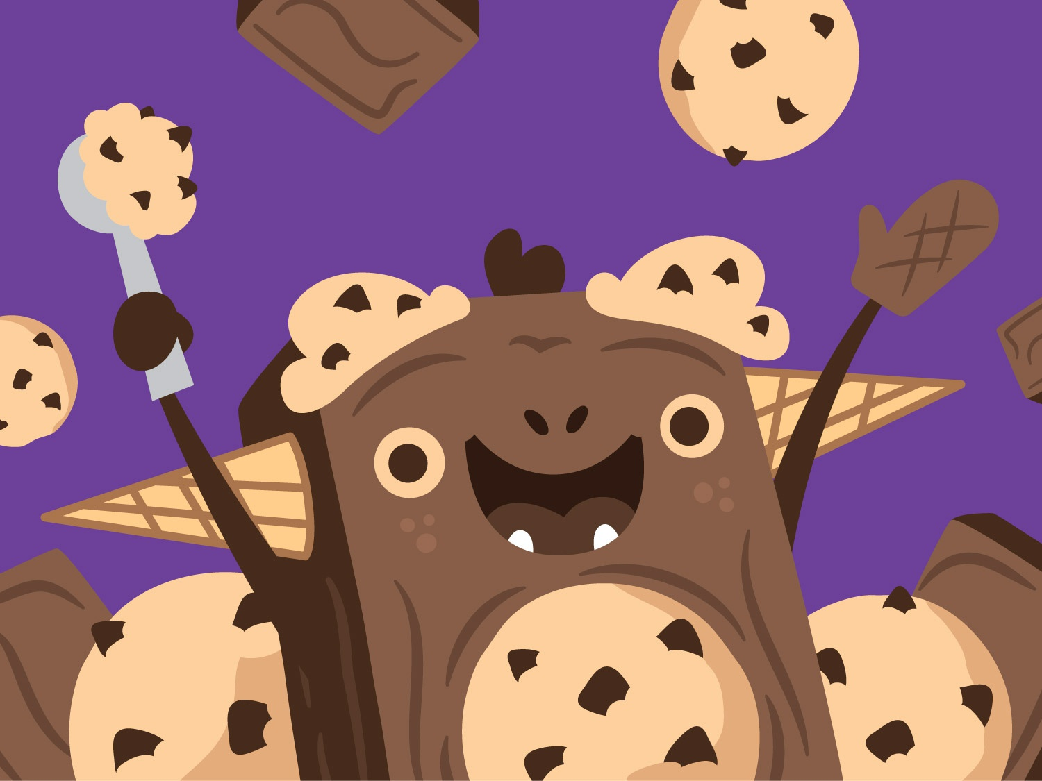 Brookie Monster brookie design food cookie brownie ice cream cone ice cream faces illustration vector character