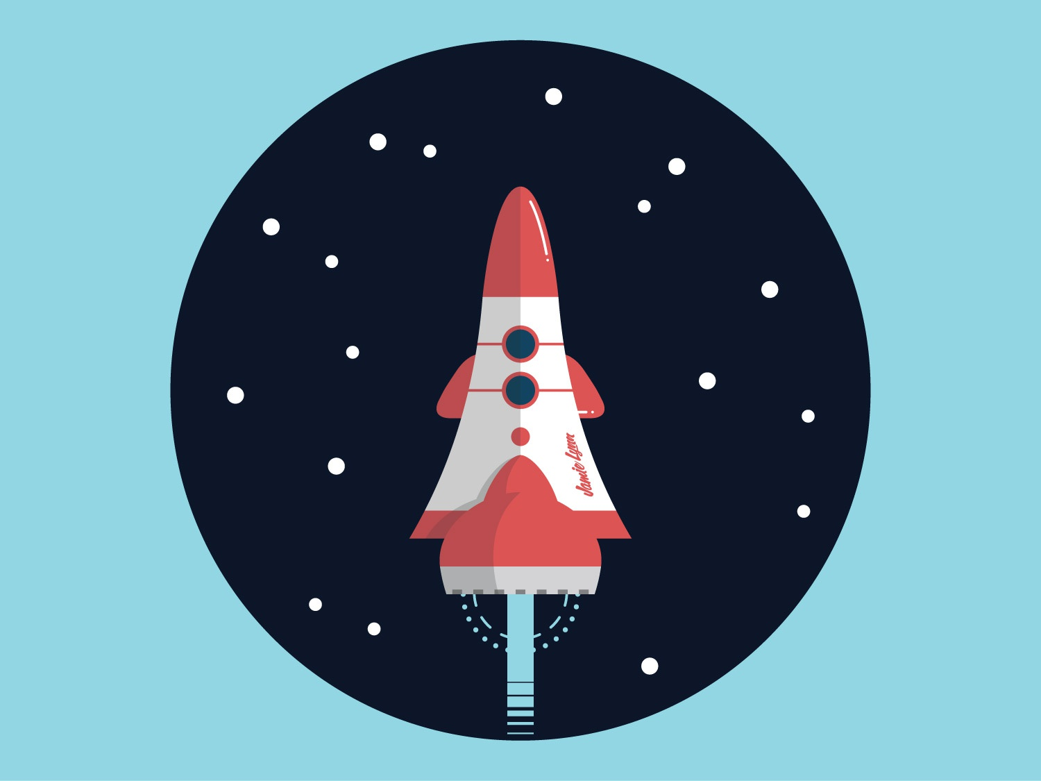 Flight of the JamieLynn stars rocket spaceship space vector illustration
