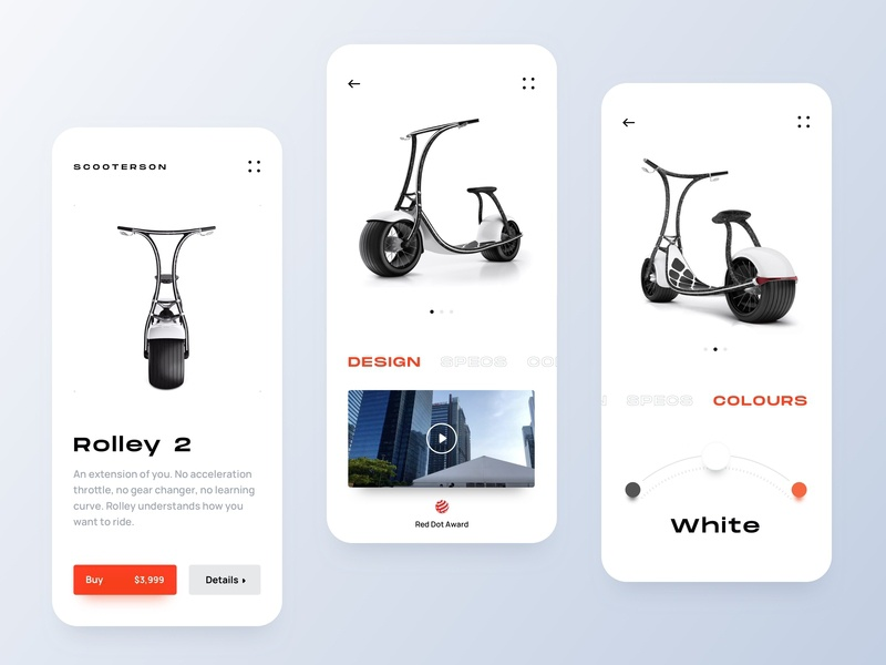 E-Scooter App UI uiux sustainable product showcase modern typography extended font presentation layout whitespace ecommerce app online store ui app ios clean mobile iphone x scooter