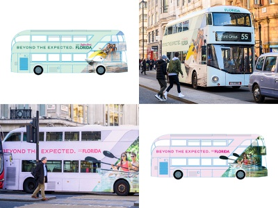 Beyond the Expected bus wraps sunshine state summer kayak jet ski double decker travel campaign united kingdom uk london buses branding florida tampa st pete
