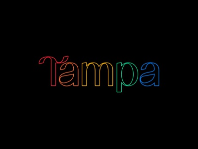 Tampa Pride feminine masculine organic rebrand lockup tampa bay monoline pride gaypride gay lgbtq rainbow logo logotype branding type florida typography st pete tampa