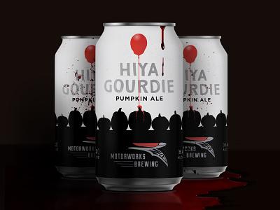Hiya Gourdie stephen king spooky scary pumpkin ale pumpkin pennywise motoworks horror halloween gourd florida dribbble clown brewery brew blood beer can beer balloon ale