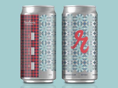 Let It Snow plaid geometric package design seasonal flannel dieline seattle pattern holiday christmas snowflake winter packaging beer can crowler beer label beer snow