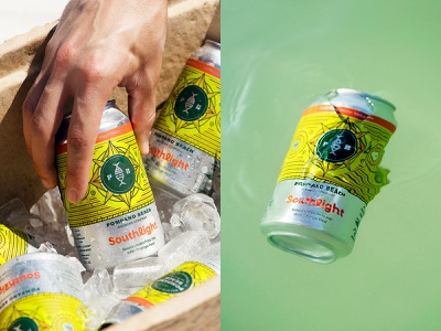 Cold Cans - Warm Welcomes ipa citrus brewery beer monoline illustration logo design packaging dribbble compass nautical fish pattern st pete beach beer can can design package design florida