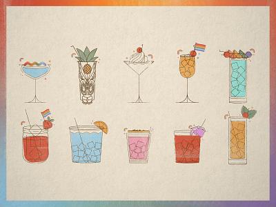 Pride Cocktails colorful monoline minimal illustration cocktails tampa bay florida st pete passport travel vintage beverage fruit cocktail rainbow lesbian gay lgbt lgbtq pride
