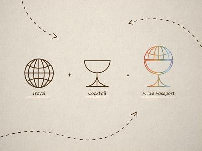 Pride Passport Logo equality lgbtq rainbow texture icon logomark cocktail globe travel passport pride monoline florida vintage illustration tampa st pete