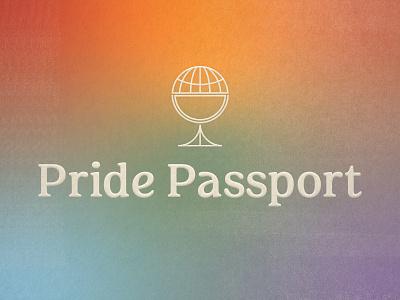 Pride Passport florida st pete tampa bay vintage icon logo monoline typography type gradient lgbt lgbtq pride month rainbow cocktail globe travel passport pride