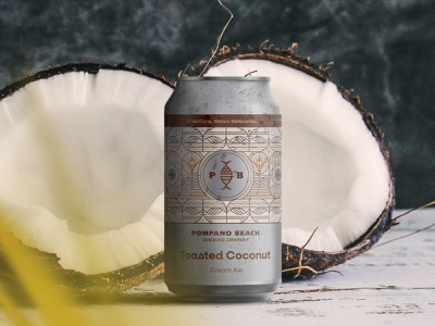 Toasted Coconut dribbble dieline vintage illustration packaging can design ipa brew ale summer tropical monoline pattern pompano florida beach beer can branding beer coconut