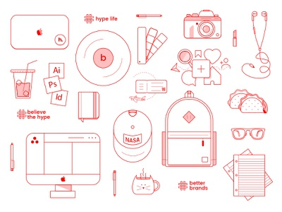Hype Life travel st pete social media monoline designer whimsical photography hype illustration vector icon