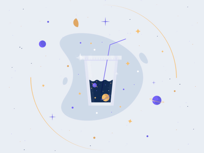 Cosmically Caffeinated cold brew iced coffee monoline monday ufo illustration purple planet galaxy space coffee cosmic