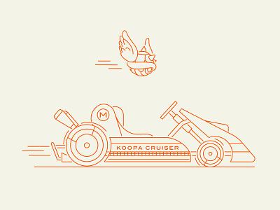 Koopa Cruiser labor day type typography speed race beer shadow illustration go kart turtle nintendo racing kart mario kart bowser monoline koopa mario mario bros