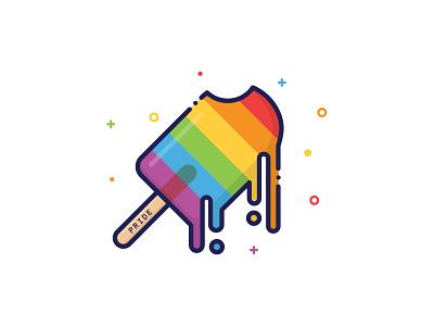 Pride Pop florida summer melting melt colorful monoline ice pop ice cream illustration st pete tampa pop popsicle rainbow equality lgbtq lgbt pride