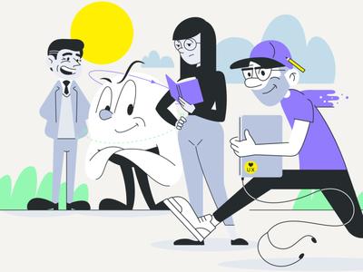 UXOX - Meet the gang website editorial illustration scene businessman ui ux character vector