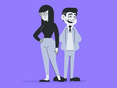 UXOX - Clara and Gary purple cartoon vector website user website owner editorial character