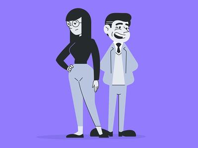 UXOX - Clara and Gary purple cartoon vector website user website owner editorial character
