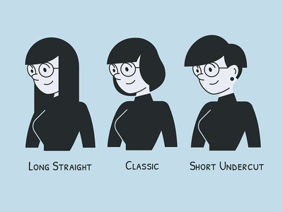 UXOX - Clara's Hair Options glasses clara variations hair hairstyle cartoon character vector