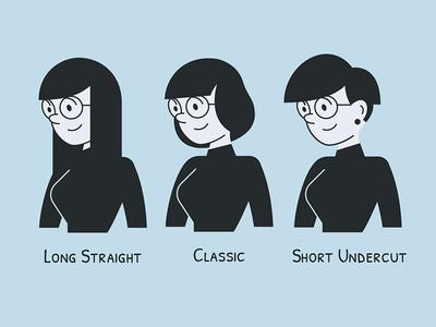 UXOX - Clara's Hair Options glasses clara variations hair hairstyle cartoon character vector