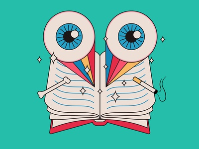 Reading and reading and reading... dazzle bones smoking rainbows eyeballs illustration lineart books