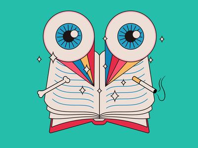Reading and reading and reading... dazzle bones smoking rainbows eyeballs illustration lineart books