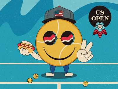 US Open illustration usopen peace hotdog tennis ball vector tennis